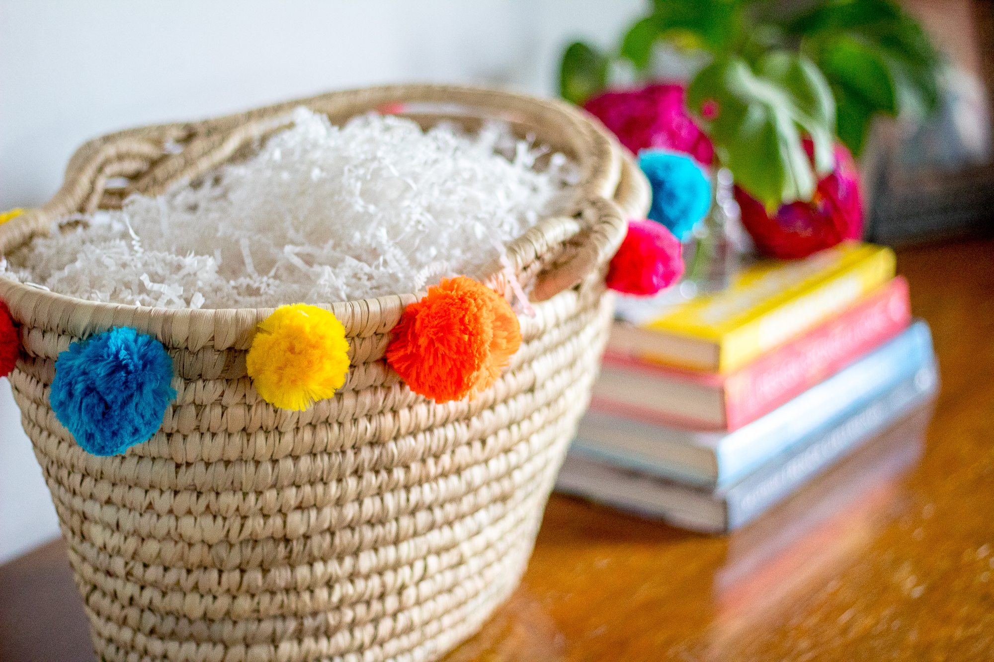 DIY pom pom easter basket