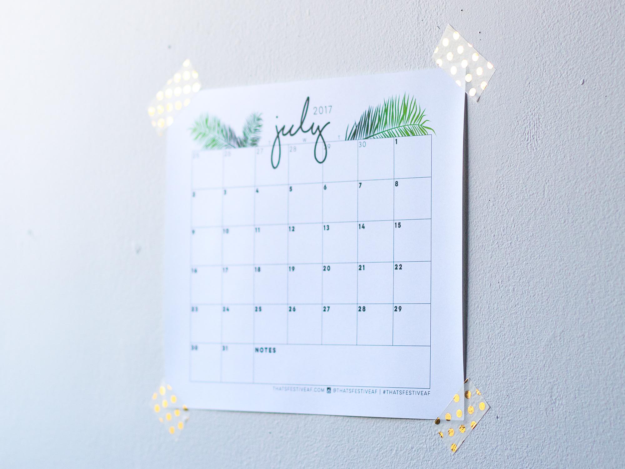 Printable July 2017 Calendar Fern Frond Free Digital Download