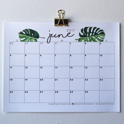Printable June 2017 Calendar Monstera Frond Free Digital Download