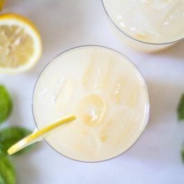 Sparkling Basil-Mint Whiskey Lemonade