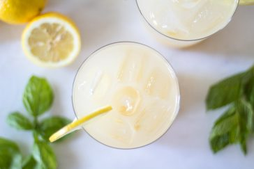 sparkling whiskey lemonade with basil and mint