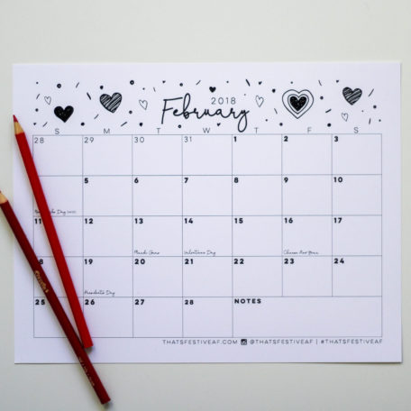Free Printable February 2018 Calendar Valentine's Day Design Hearts