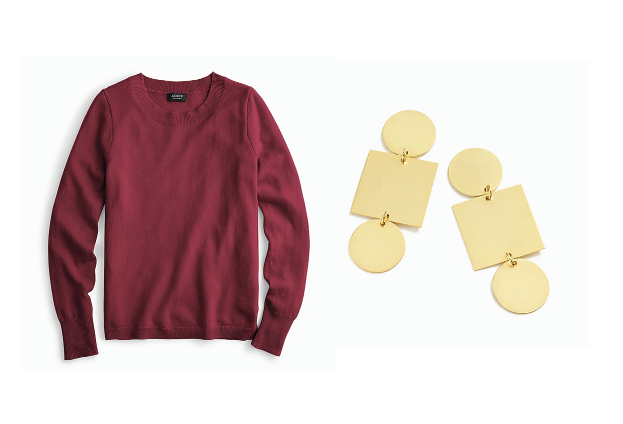 j crew cashmere sweater and geometric earrings